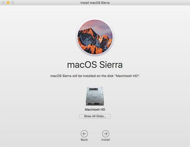 Solicitud de instalación de MacOS Sierra