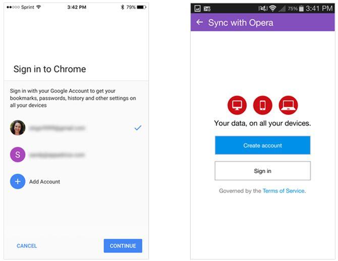 La sincronización de Chrome en iOS y Android Opera