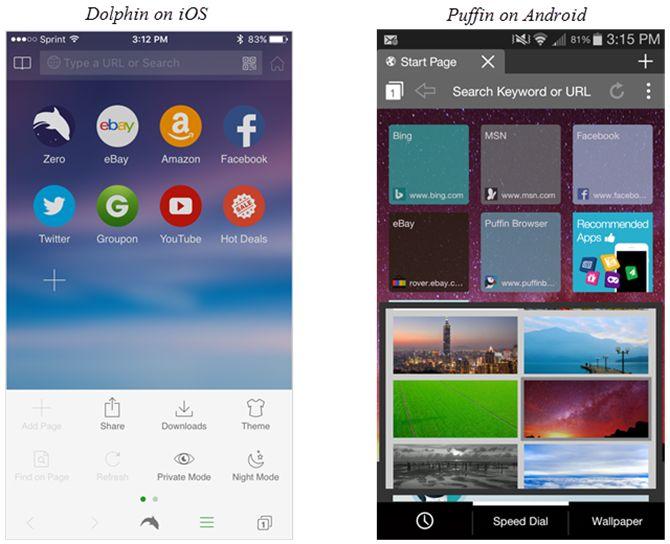 Delfín en iOS y Android Frailecillo en navegadores móviles