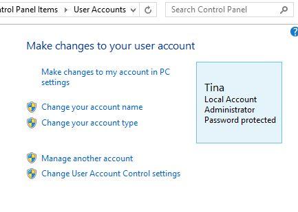8.1 Panel de control de Windows Cuentas de usuario