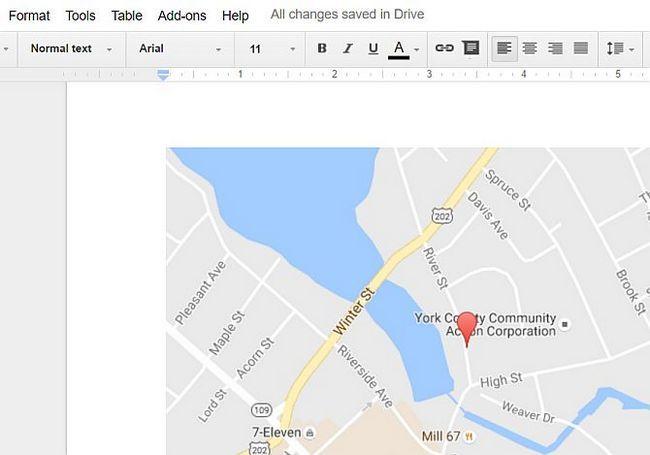 Mapa incrustado en Google Docs
