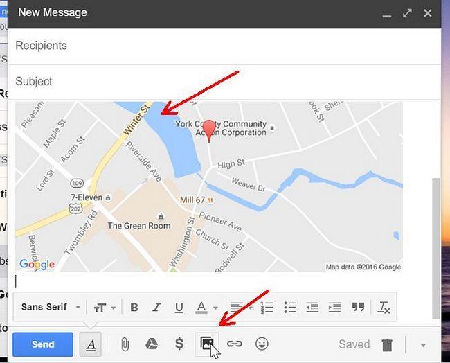 Mapa incrustado en Gmail Compose