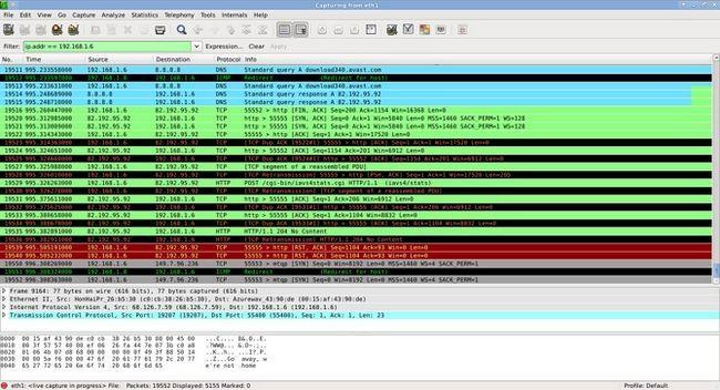 Wireshark en uso Ejemplo