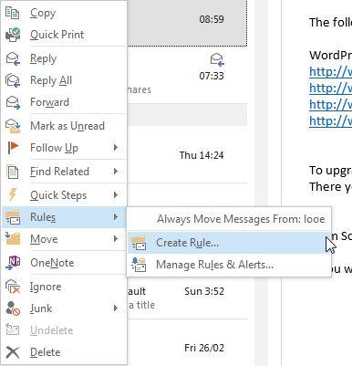 Crear regla de Outlook