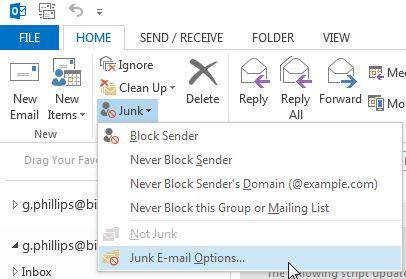 Opciones de correo electrónico no deseado de Outlook