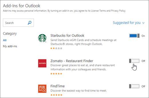 complementos de Outlook