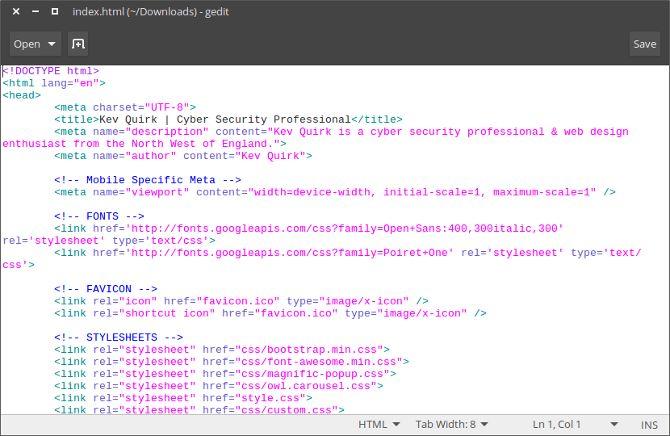 Gedit archivo HTML