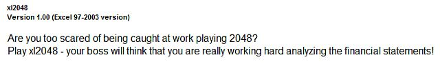Asustado de ser atrapado 2048 Microsoft Excel