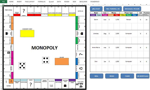 Monopoly Juego de Microsoft Excel