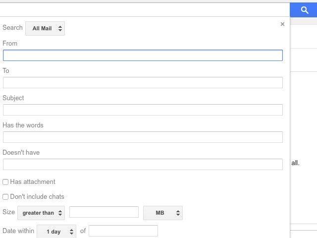 la configuración de búsqueda avanzada