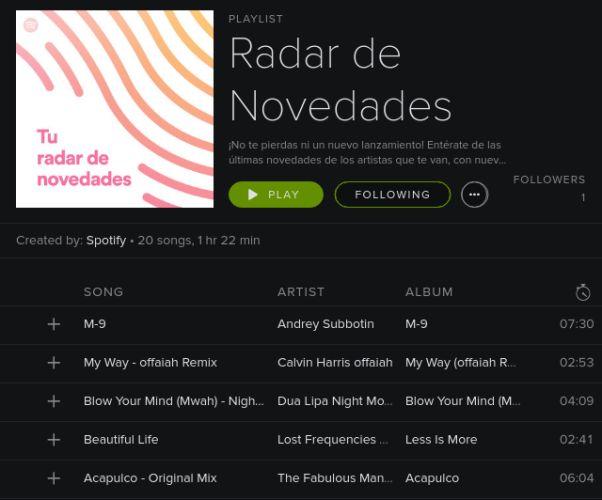 Radar Spotify Lanzamiento