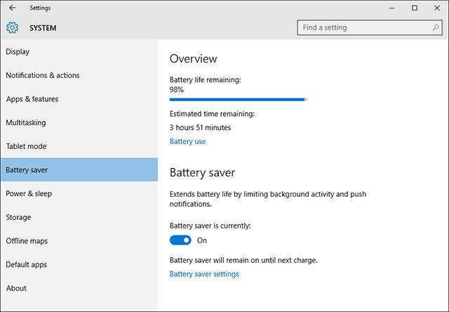 Windows 10 ahorro de batería