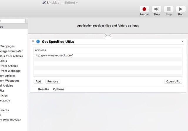 URLs automator-conseguir-specified