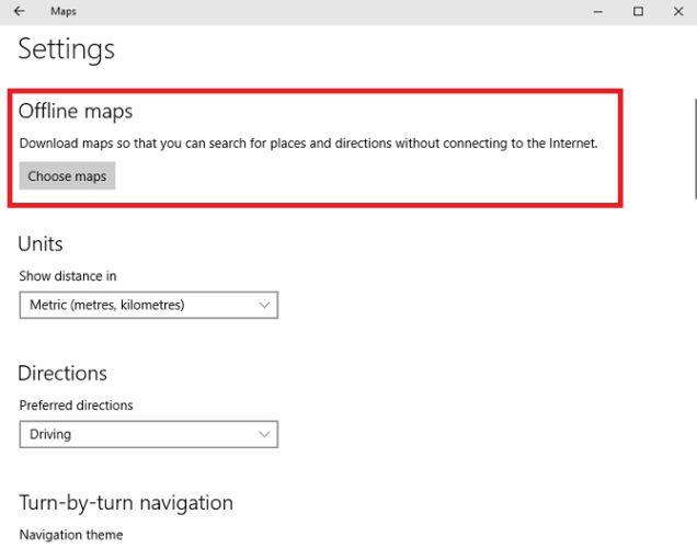 Configuraciones de mapas de Windows sin conexión 10