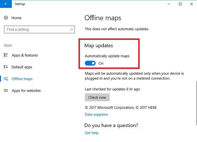 Configuraciones de mapas de actualización de Windows sin conexión 10