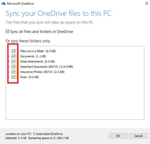 onedrive carpetas de sincronización de Windows 10