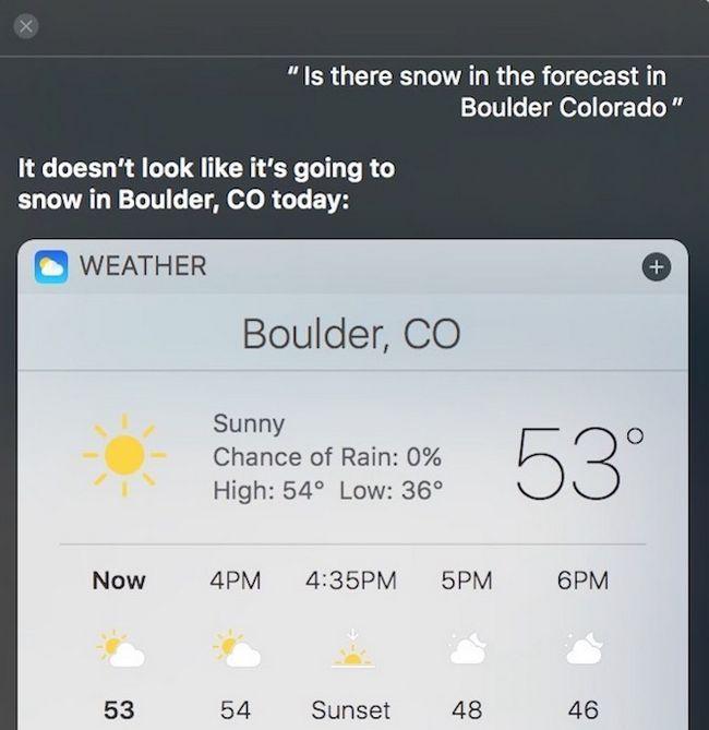 Siri tipo de clima