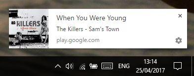 Google notificaciones de escritorio juego de música