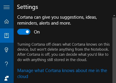 10 Configuración de Windows Cortana