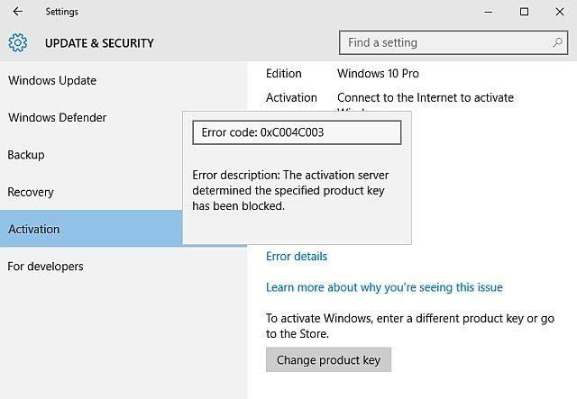 Código de error 10 Activación de Windows