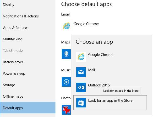 Windows 10 aplicaciones por defecto