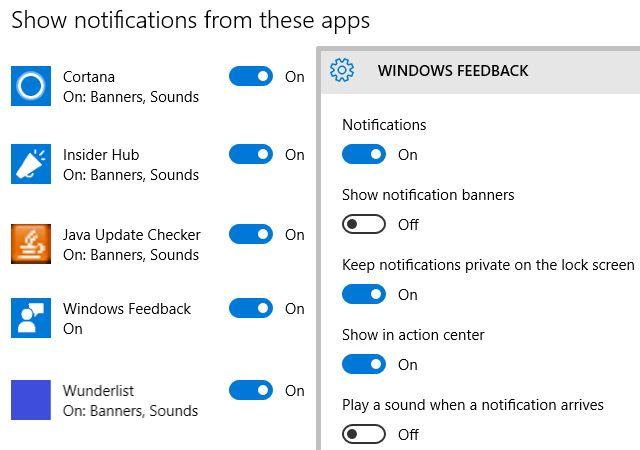Windows 10 Configuración de notificaciones