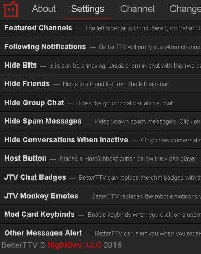 BTTV Ajustes Twitch extensión de Chrome