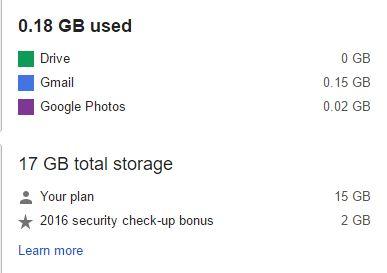 El espacio de Google Drive