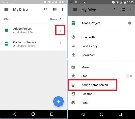 Android de Google Drive de acceso directo