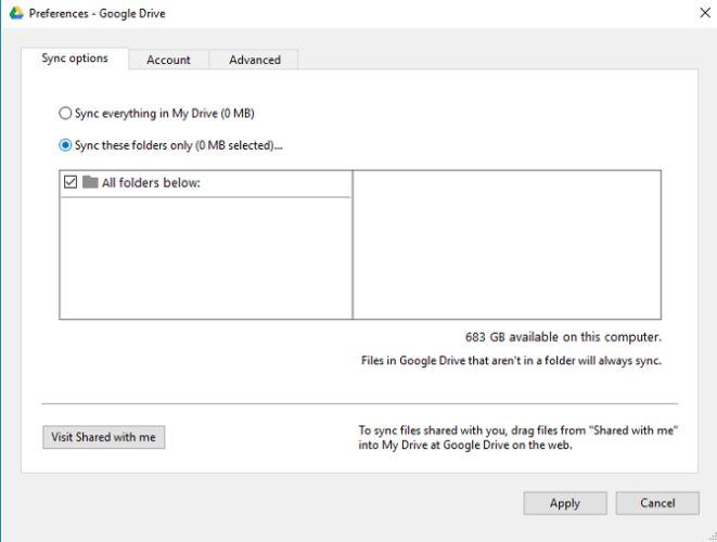 Google Drive sincronización de carpetas