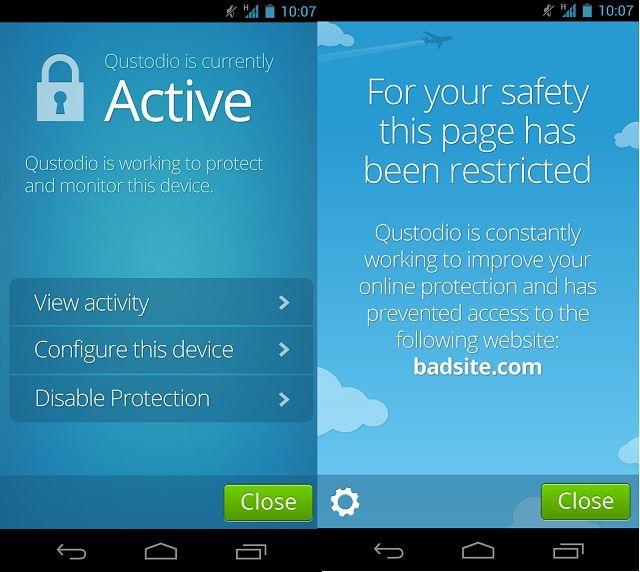 Qustodio-Android de pantalla