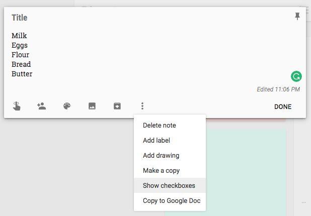 Google Keep nota lista de verificación