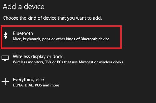 añadir ventanas de la pantalla 10 de Bluetooth