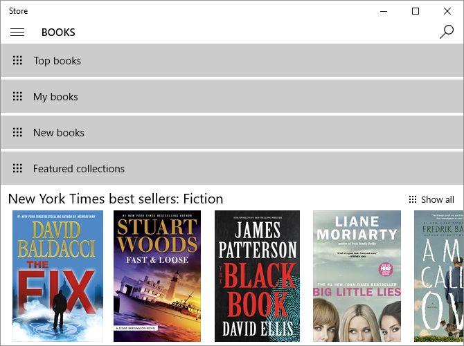 Windows 10 libros de tienda