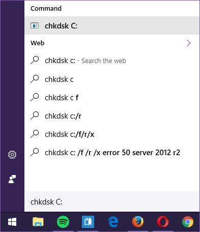Cortana-chkdsk al mando de gestión