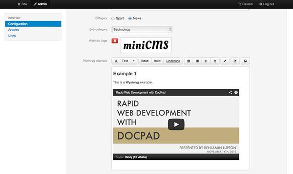 sitio estático generador DocPad de administración