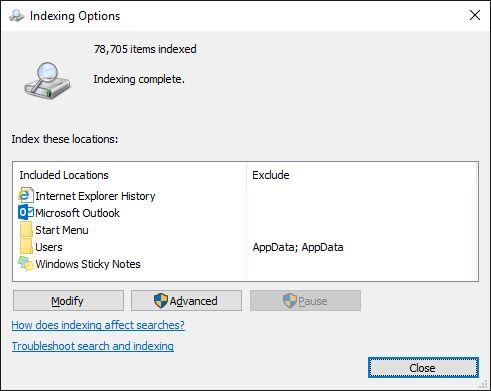 opciones de indexación de Windows