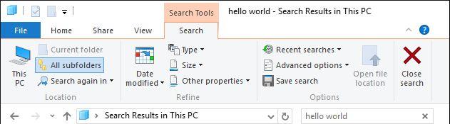 ventanas de búsqueda del explorador de archivos
