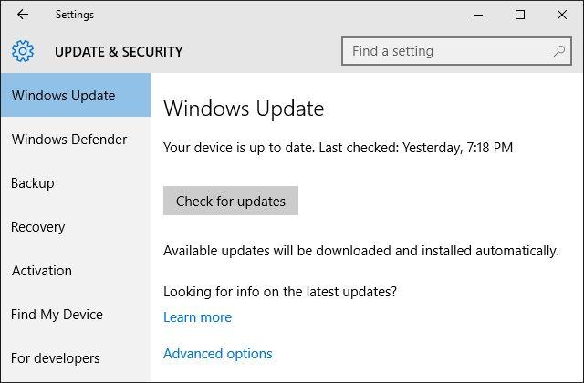 Windows 10 Configuración de Windows Update