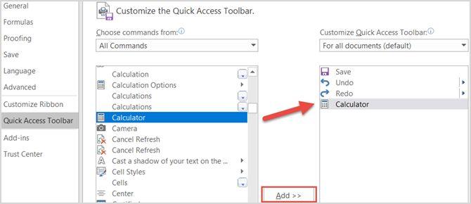Microsoft Excel - Añadir Calculadora