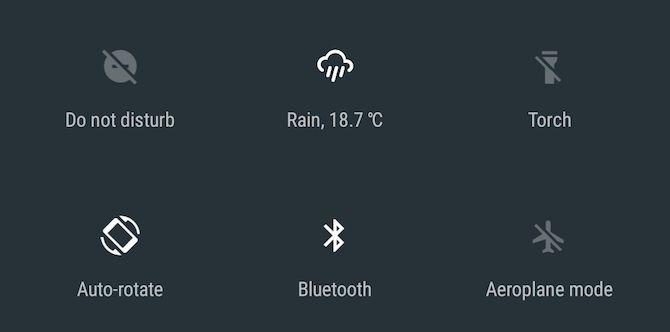 El tiempo Android Turrón de ajustes rápidos del azulejo App