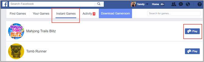 facebook juegos instantáneos Web