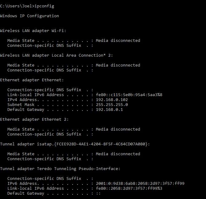 ventanas de comando ipconfig;