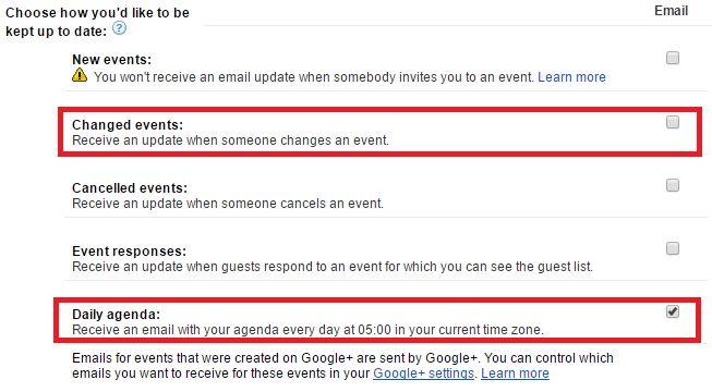 Google Calendar diario por correo electrónico