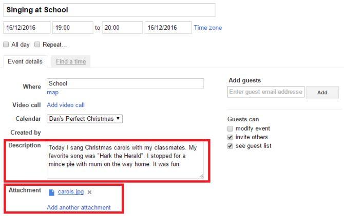 Google fijación calendario add
