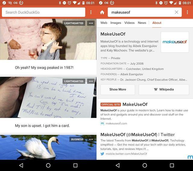 DuckDuckGo de pantalla