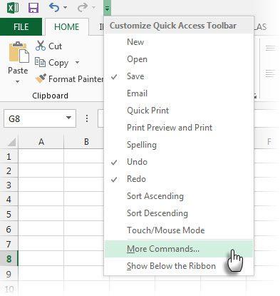 Acceso rapido a la barra de herramientas