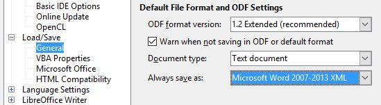 LibreOffice de punta por defecto de formato de archivo