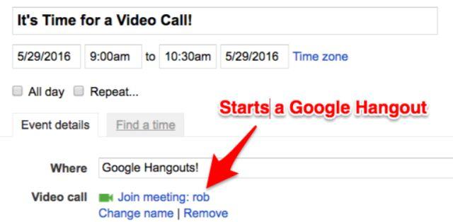 Google Calendar videollamada