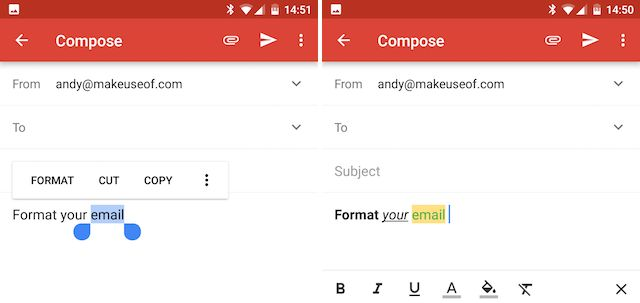Android Gmail formato a los mensajes
